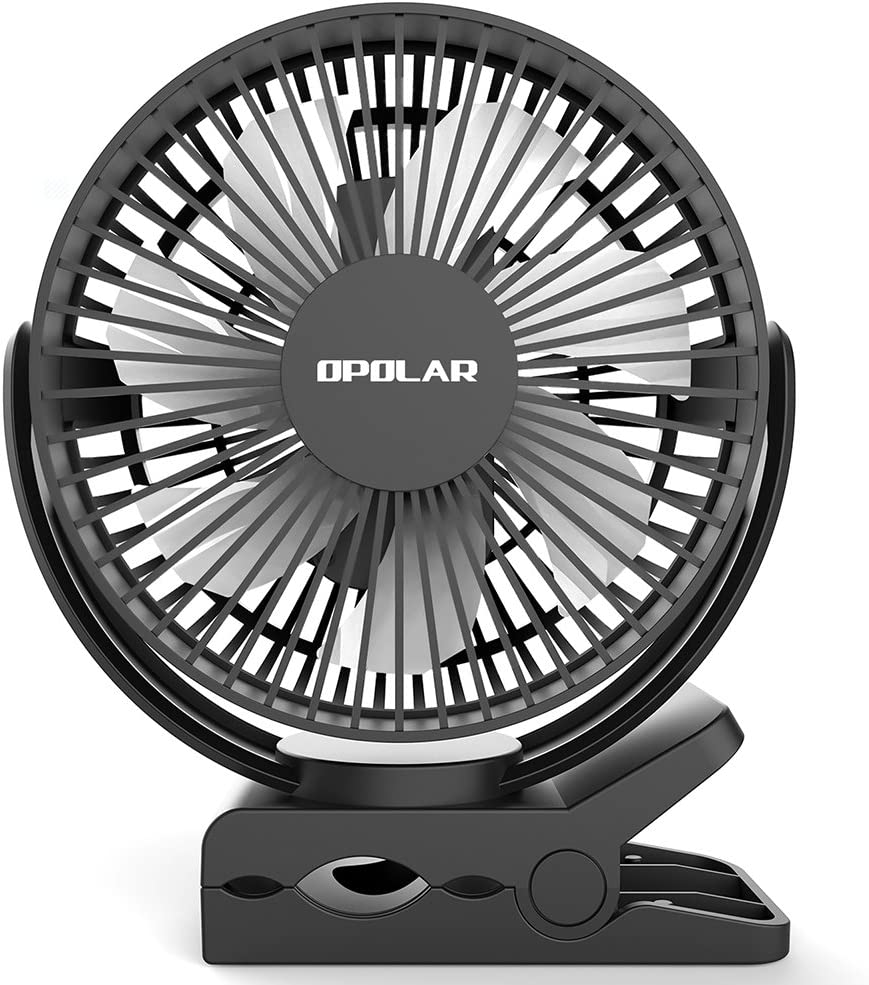 OPOLAR Clip on Fan, 5200mAh Battery Powered, Strong Clamp with 3 Speeds, Installed Batteries or USB Operated, Quiet but Strong Wind Clip on Fan for Treadmill, Oudoor or Office