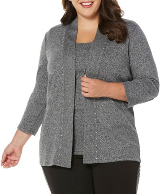 Rafaella Womens Plus Size Heat Set Cardigan