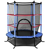 "Beyondfashion 55"" 4.5FT Blue/Pink/Green Trampoline Junior Kids Outdoor Activity Fun With Safety Net"