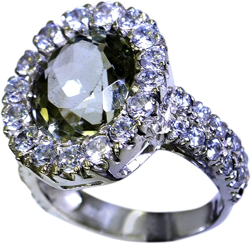 55Carat Green Amethyst Ring /& CZ 925 Silver Oval Pave Setting Birthstone Handmade Size 5,6,7,8,9,10,11,12