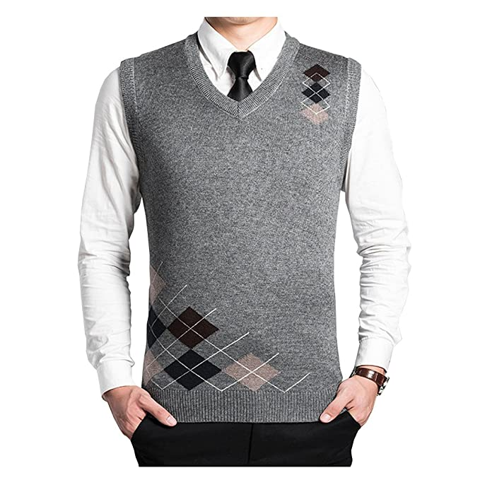 Fange Woolen V,Neck Rhombus Stripe Knit Sweater Vest for Men Casual Business