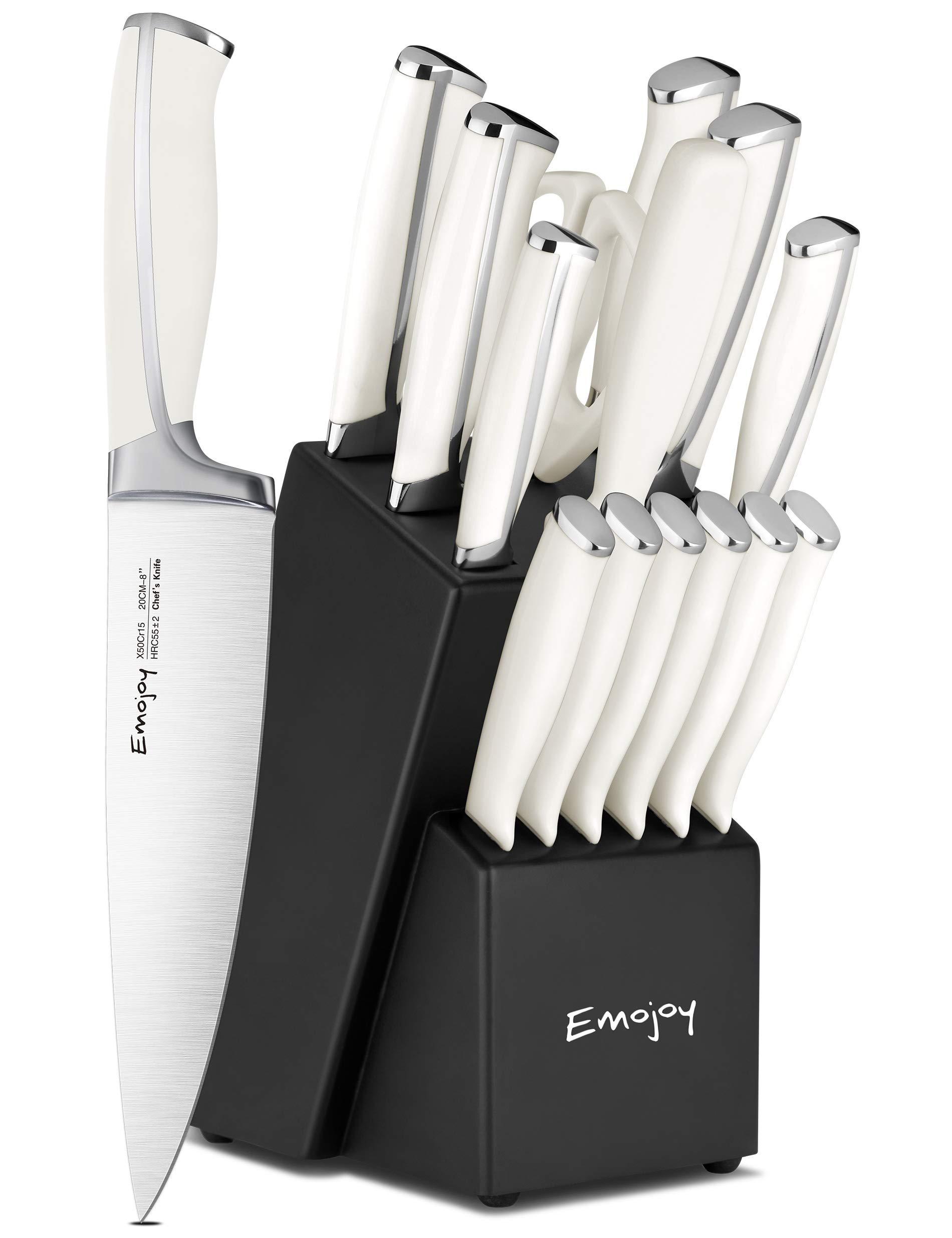 Emojoy Knife Set, 15-Piece Kitchen Knife Set with Block, ABS Handle for Chef Knife Set, German Stainless Steel, Emojoy (White).