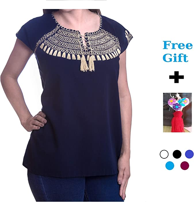Amvee Embroidered Blouse Handmade Top Short Sleeve Autentic Mexican