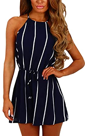 1fb95a153154 Amazon.com  ECOWISH Womens Floral Striped Tie Front Spaghetti Strap  Jumpsuits Sleeveless Casual Summer Romper Shorts  Clothing