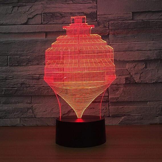 BFMBCHDJ Steps Abstract 7 Color Lamp 3D Visual Led Night Lights ...
