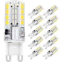 Ampoule LED G9, Jpodream 5W 32 x 2835 SMD LED Lampes Blanc Froid 6000K, 400LM, Économie d'énergie Equivalente 40W Halogène Lumière, 360 Degrés Angle, AC220-240V - Pack de 10
