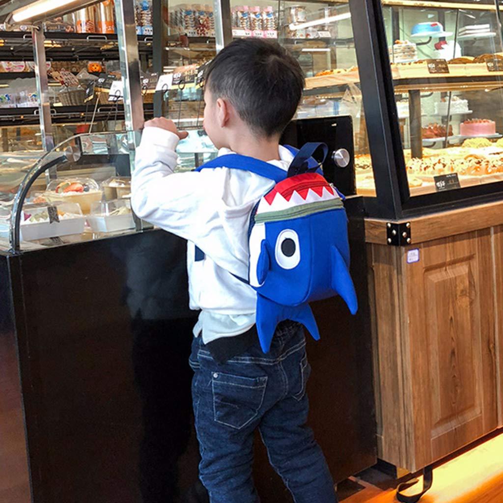 SM SunniMix Boys /& Girls Safety Anti-Lost Zippered Shark Strap Bag Outdoor Travel Camping Backpack Schoolbag Blue for Kids Blue