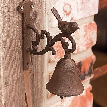 Antikas - campana jardín con pájaro - campana estilo rústico antiguo - campana puerta de casa: Amazon.es: Bricolaje y herramientas