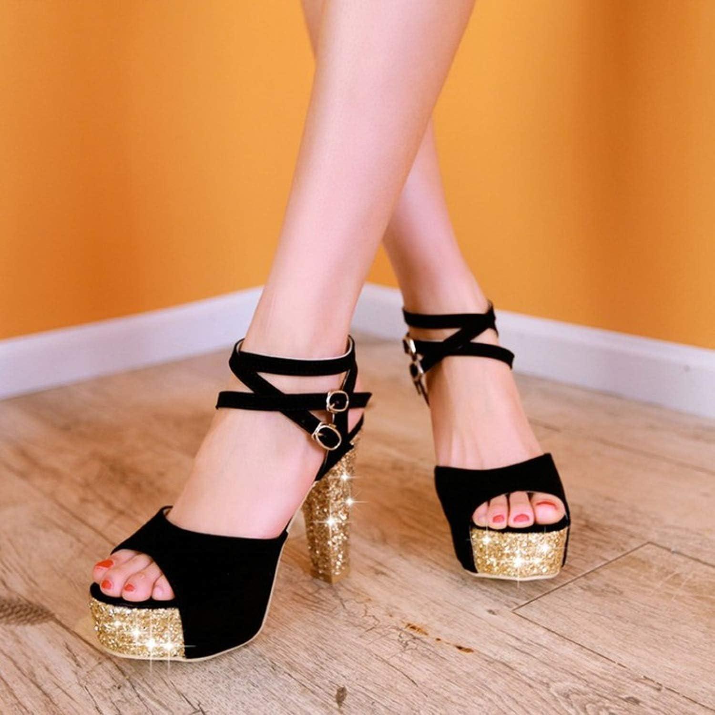 12CM Super High Heel Thick Heel Sandals Womens Summer The New Sequin Open Toe Womens Shoes