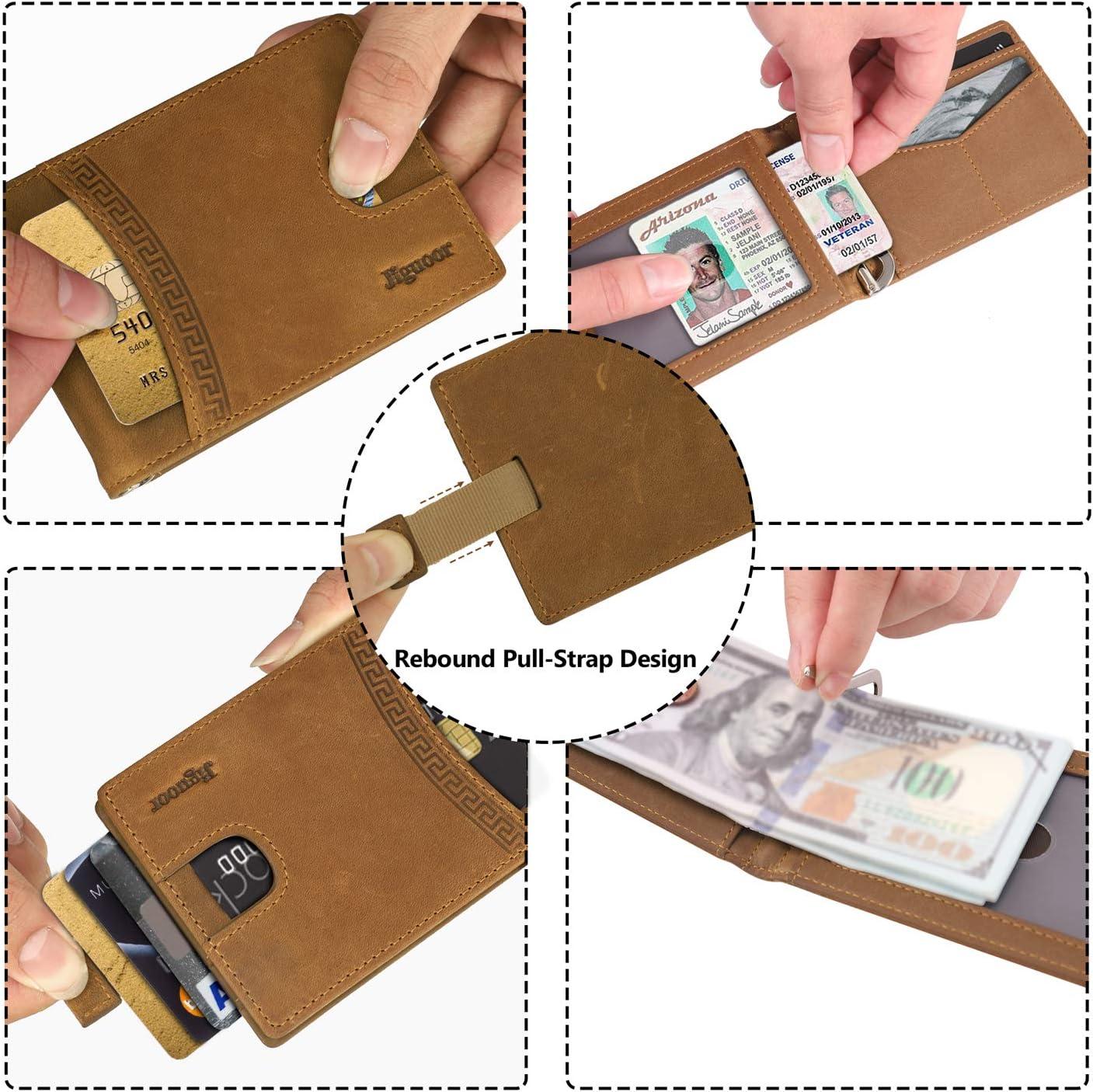 Jiguoor Cartera con Pinza para Billetes Bloqueo RFID Protege Tarjetas de cr/édito Tarjetero Hombre Slim Estuche Billetero Cartera peque/ña de Viaje