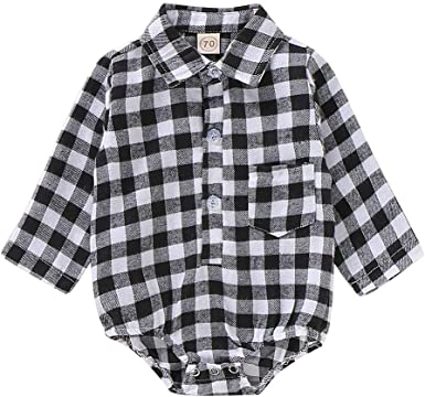 Unisex Toddler Kids Baby Girls Boys Red Printed Plaid Shirt Long Sleeve Tops Casual Clothes