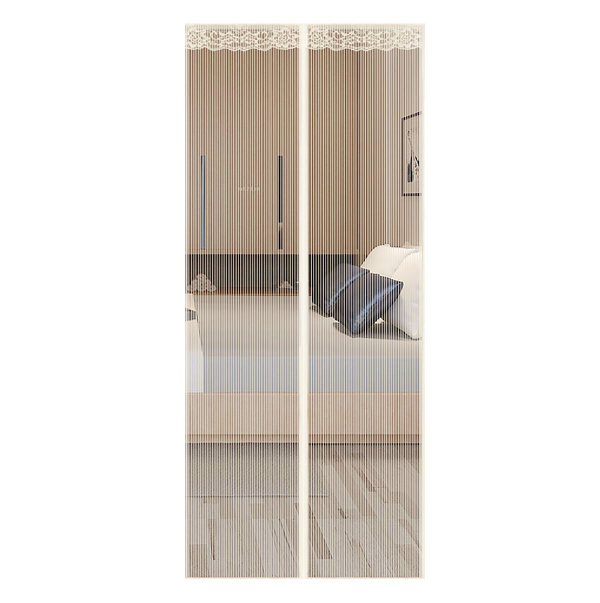Q&F Magnetic Screen Door With Heavy Duty,Mesh Curtains For French Doors-sliding Doors Fishing Boat-super Quiet,Hands Free,Toddler And Pet Friendly-cream color 115x230cm(45x91inch)