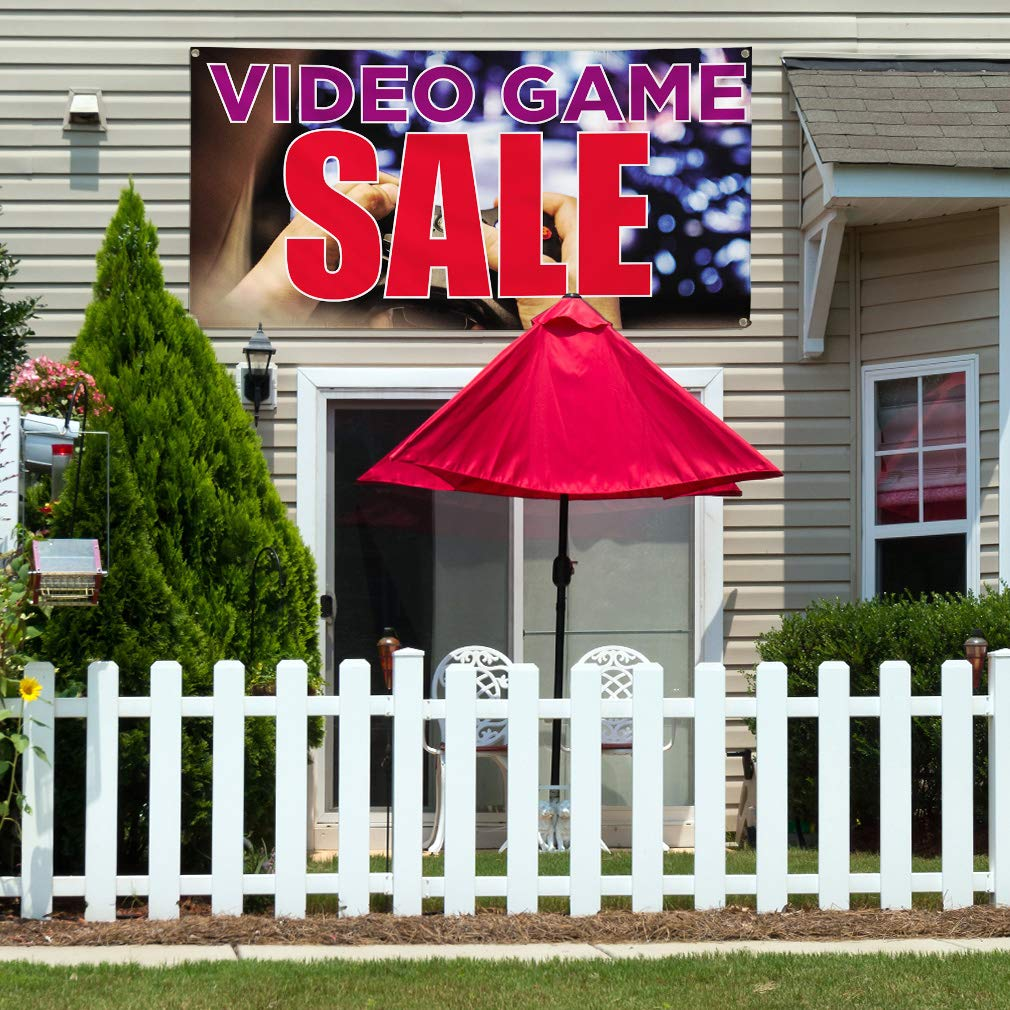 28inx70in 4 Grommets Set of 2 Vinyl Banner Sign Video Game Sale Business Outdoor Marketing Advertising Multi-Colored Multiple Sizes Available