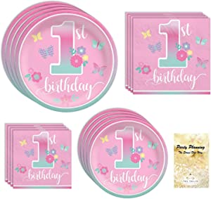 Girls 1st Birthday Party Supplies, Pink Butterfly Garden Design, 16 Guests, 65 Pieces, Disposable Paper Dinnerware, Plate and Napkin Set