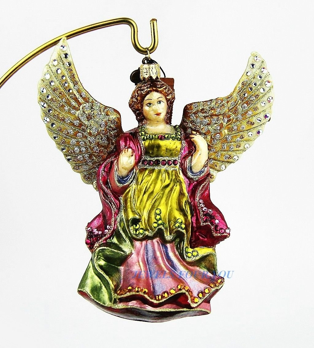 JAY STRONGWATER NATIVITY ANGEL FULL COLOR GLASS CHRISTMAS ORNAMENT NEW BOX