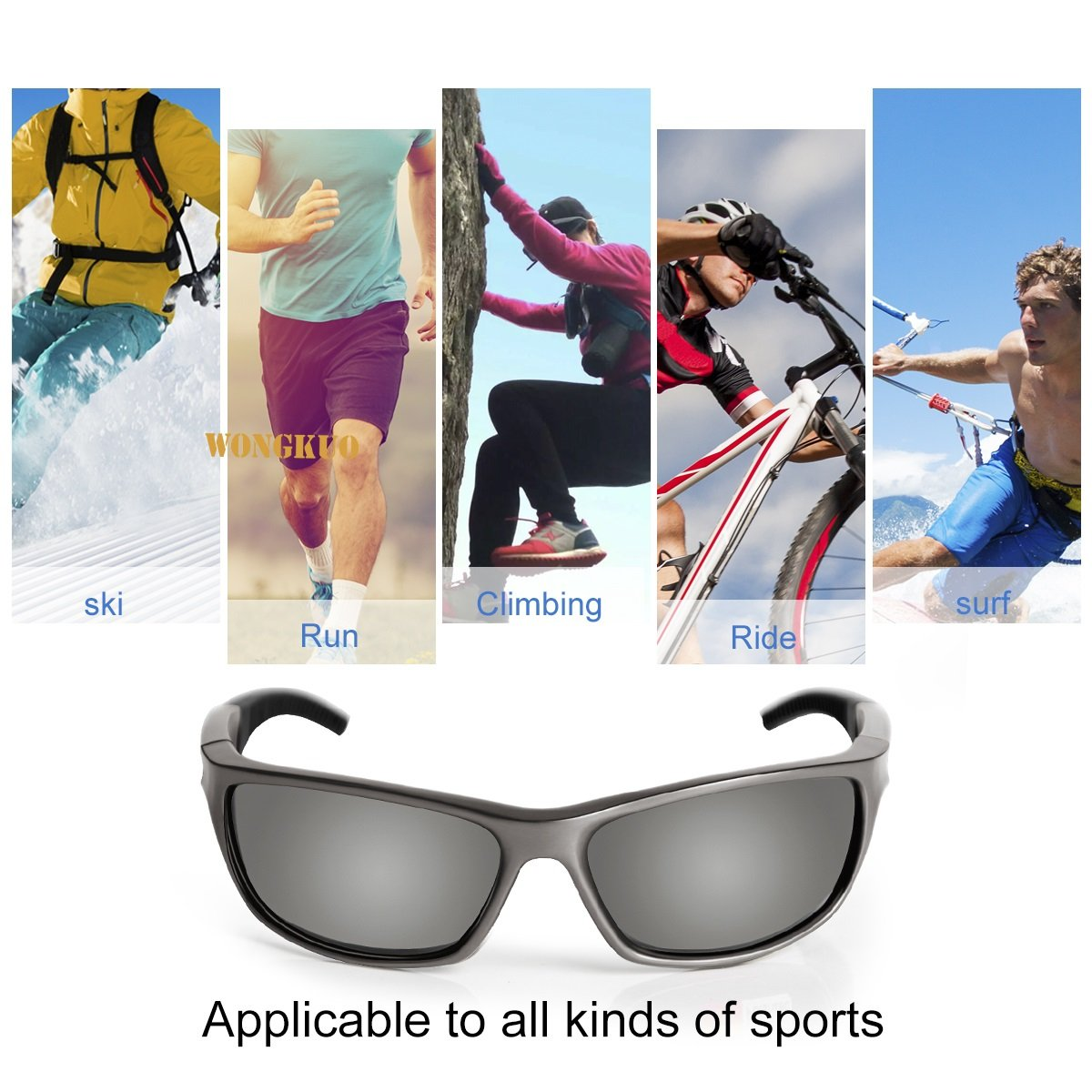 WONGKUO Sports Sunglasses for Men Women Polarized Glasses UV Protection TR90 Frame