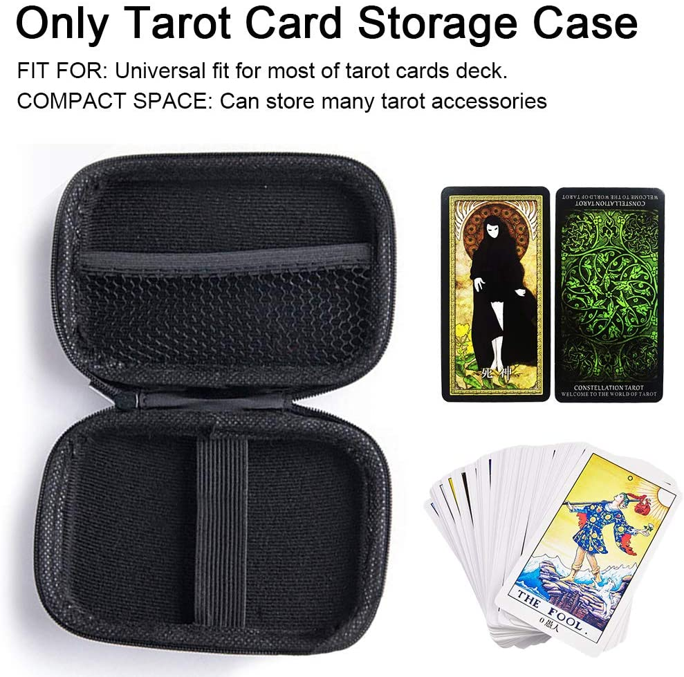Just E Joy Case for The Rider Tarot Deck Cards,Universal Tarot Organizer Storage Box Hard EVA Tarot Card Storage Case Travel Carrying Bag PU Leather Home Organizer