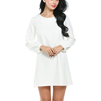 ACEVOG Women's Plain Long Sleeve Shift Dress Retro 1950s Style Casual Loose Cocktail Party A-Line Dress at Amazon Women's Clothing store
