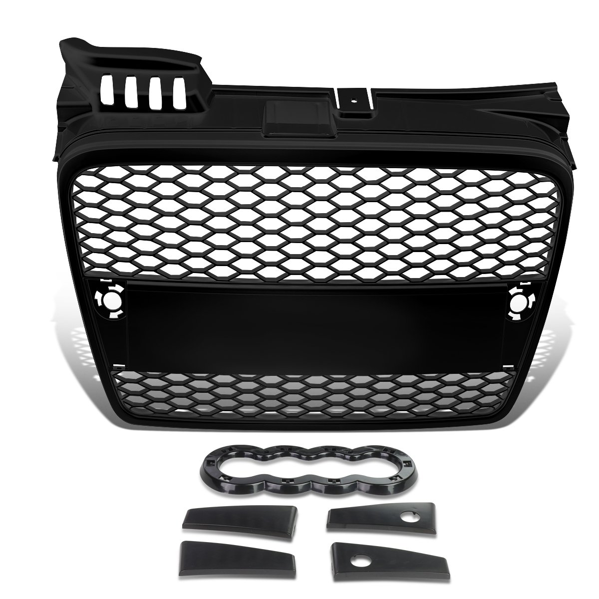 For Audi A4 Quattro ABS Plastic Honeycomb Mesh Style Front Grille (Black) - B7 Typ 8E/8H Auto Dynasty GR-A4-0507-RS-BK