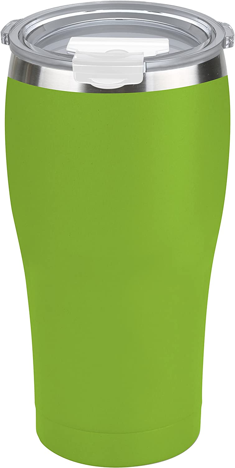 Tahoe Trails 20 oz Tumbler, Stainless Steel, Vacuum Insulated, Double Wall with Lid, Great for Cold or Hot Drinks, Green