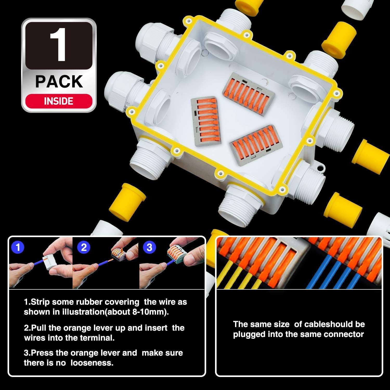Verbindungsbox Wasserdicht mit Verbindungsklemme IP68 Abzweigdose 10 Wege Verteilerdose f/ür 4mm-14mm Kabel Anschlussdose f/ür Au/ßenbereich SOMELINE Anschlussk/ästen Wei/ß