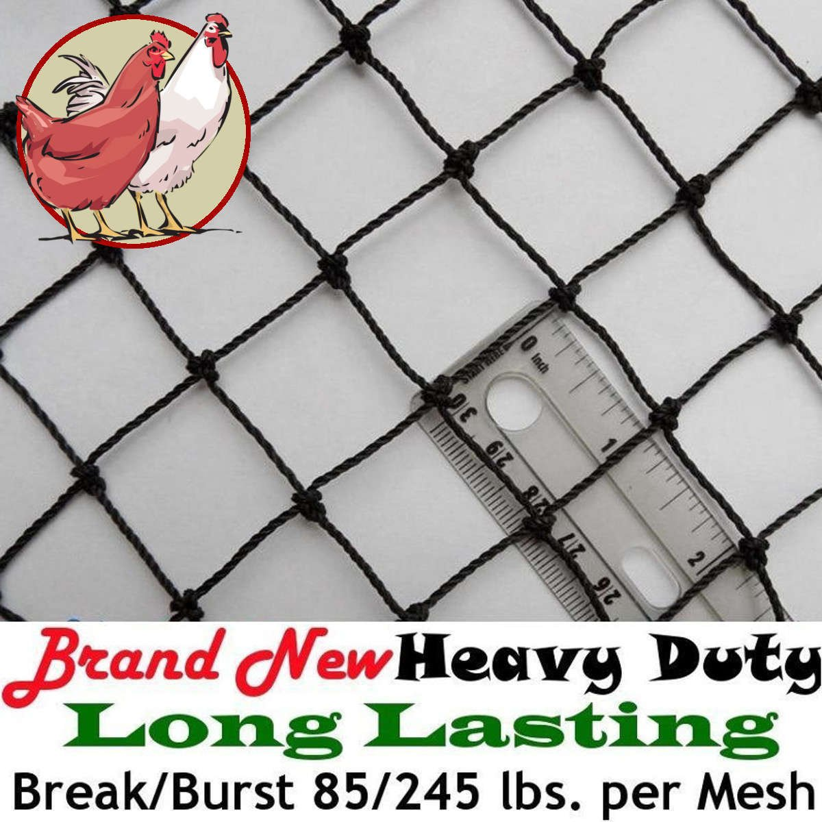 Poultry Netting 25' x 50' Heavy Knotted 1'' Mesh Nets Aviary Gamefowl Quail Chicken Bird Block Net Long Lasting Break/Burst 85/245 lb Polyethylene 8-10 Year Lifespan 33lb Ship Weight