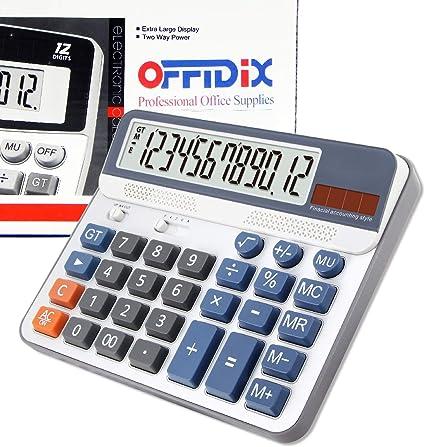 Calculatrice de bureau OFFIDIX Calculatrice de bureau /à affichage extra large pile incluse Calculatrice de style comptabilit/é financi/ère Calculatrice /à 12 chiffres portable