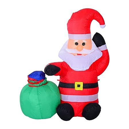 Papa Noel Inflable 70x45x120cm Luces LED + Bolsa Regalo Decoracion Navidad Santa
