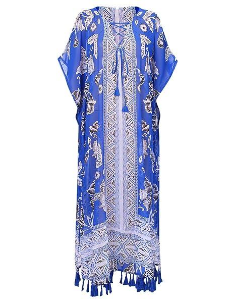 Amazon.com: Vestido largo de rayón suelto para mujer, talla ...