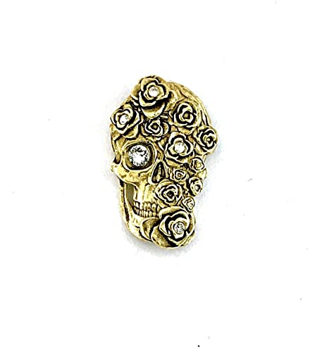 Amazon com: NONEKLACE Skull w/Roses Magnetic Metal Brooch w