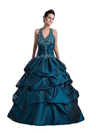 Snowskite Womens Puffy Taffeta Beaded Princess Halter Ball Gown Quinceanera Dress Navy Blue 0