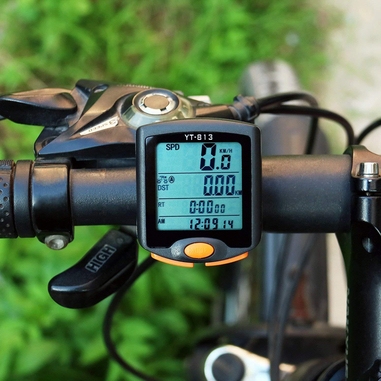 Hangang Bike Speedometer-Bike Computer-Bicycle Odometer Waterproof Multifunction Cycling Speedometer with Backlit Display-Wireless Multi Functional Bicycle Odometer YT-813