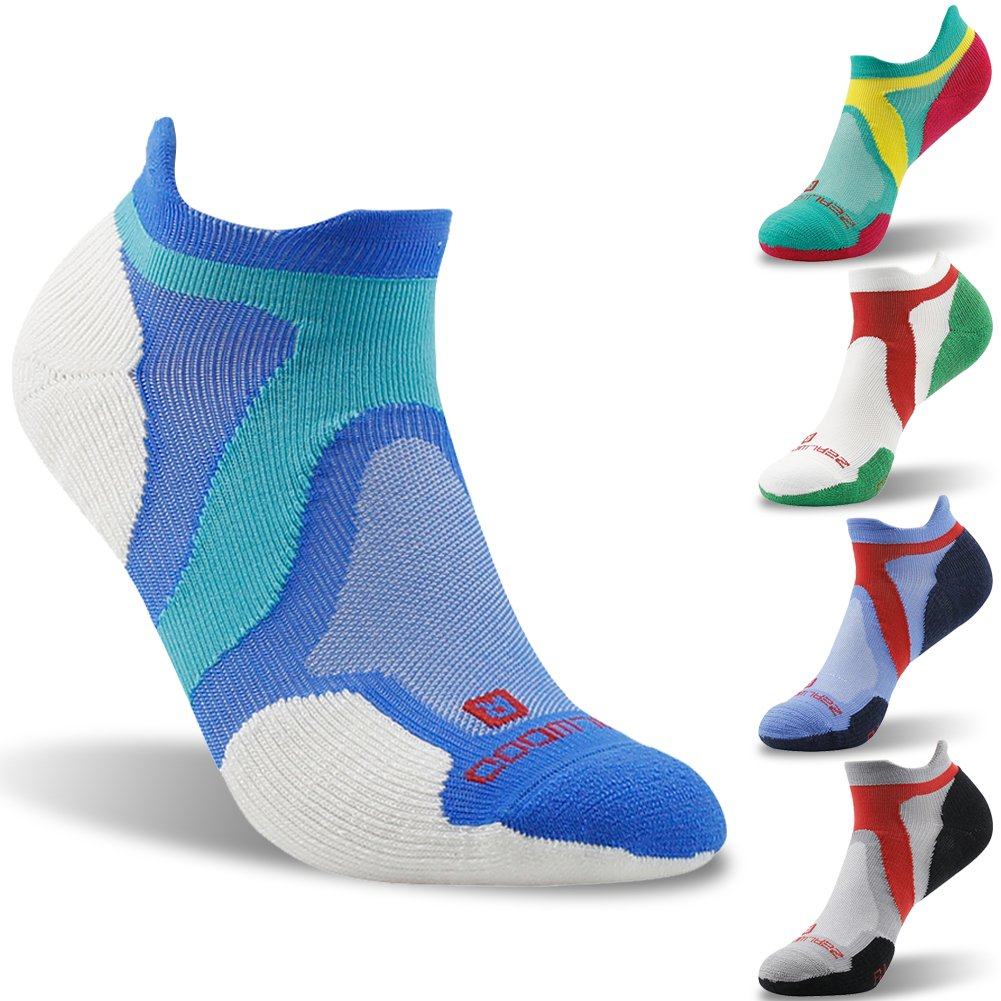 Merino Wool Tab Ankle Running Socks, ZEALWOOD Unisex Performance No-Show Athletic Quarter Sock, Gym Socks, Light Weight Socks,Dry Hiking/Outdoor Socks-Blue/White,Small