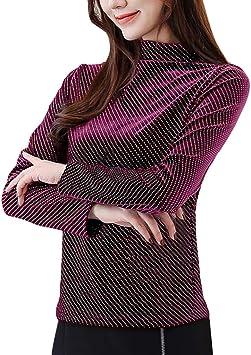 Blusa de manga larga para mujer, Hawkimin, otoño, invierno, dorado, terciopelo, cuello alto, camisa, casual, casual: Amazon.es: Bricolaje y herramientas