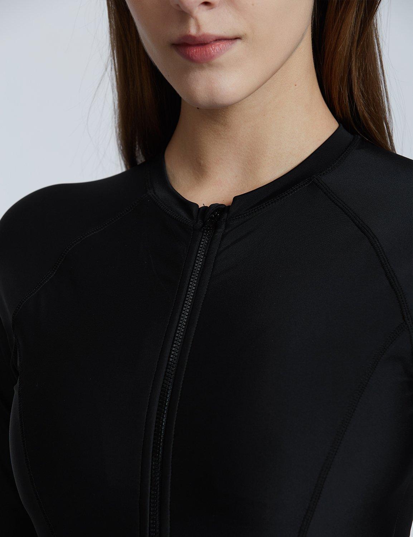 Baleaf Women's Long Sleeve One Piece Sun Protection Rash Guard Rashguard UPF 50+ Swimsuit Black Size S by Baleaf (Image #4)