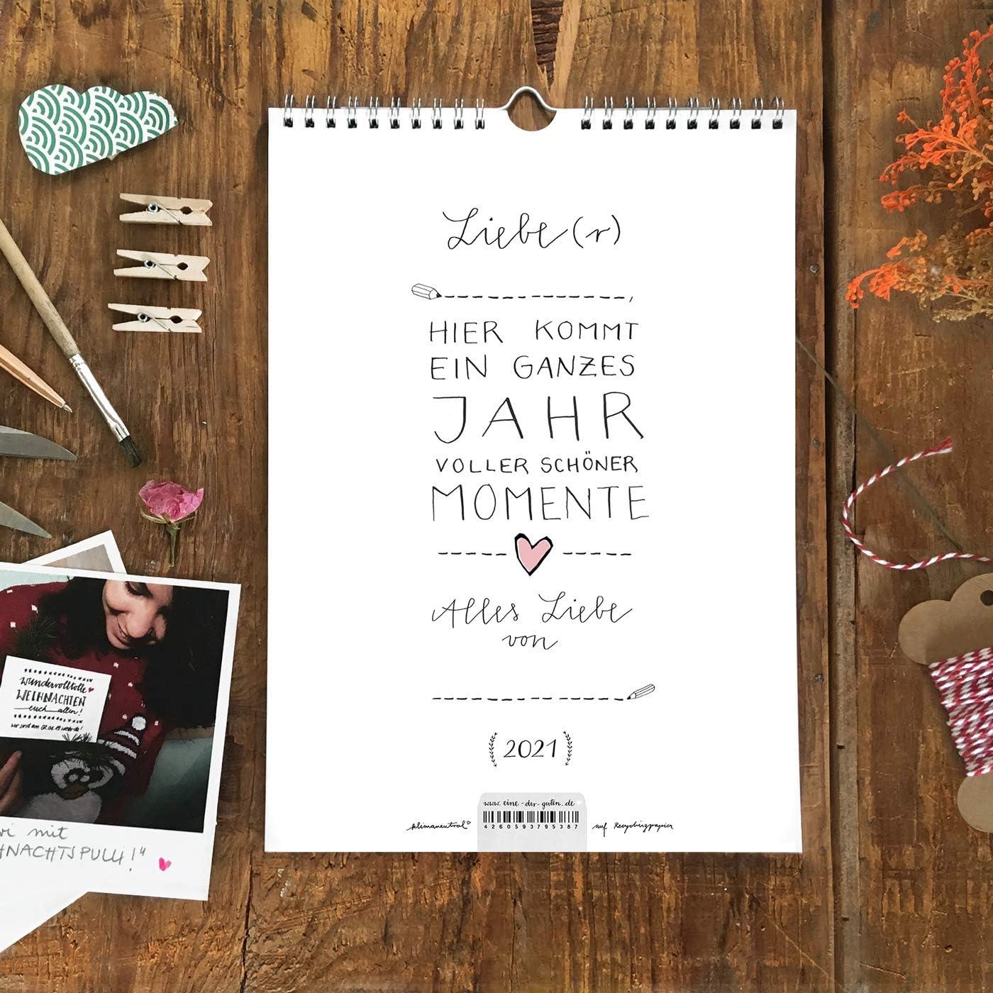 A4 Bastelkalender 2021 sch/öne Momente Design Recyclingpapier Fotokalender Geburtstagskalender Schwarz Wei/ß mit rosa Herz Kreativkalender basteln und verschenken Kalender selbst gestalten