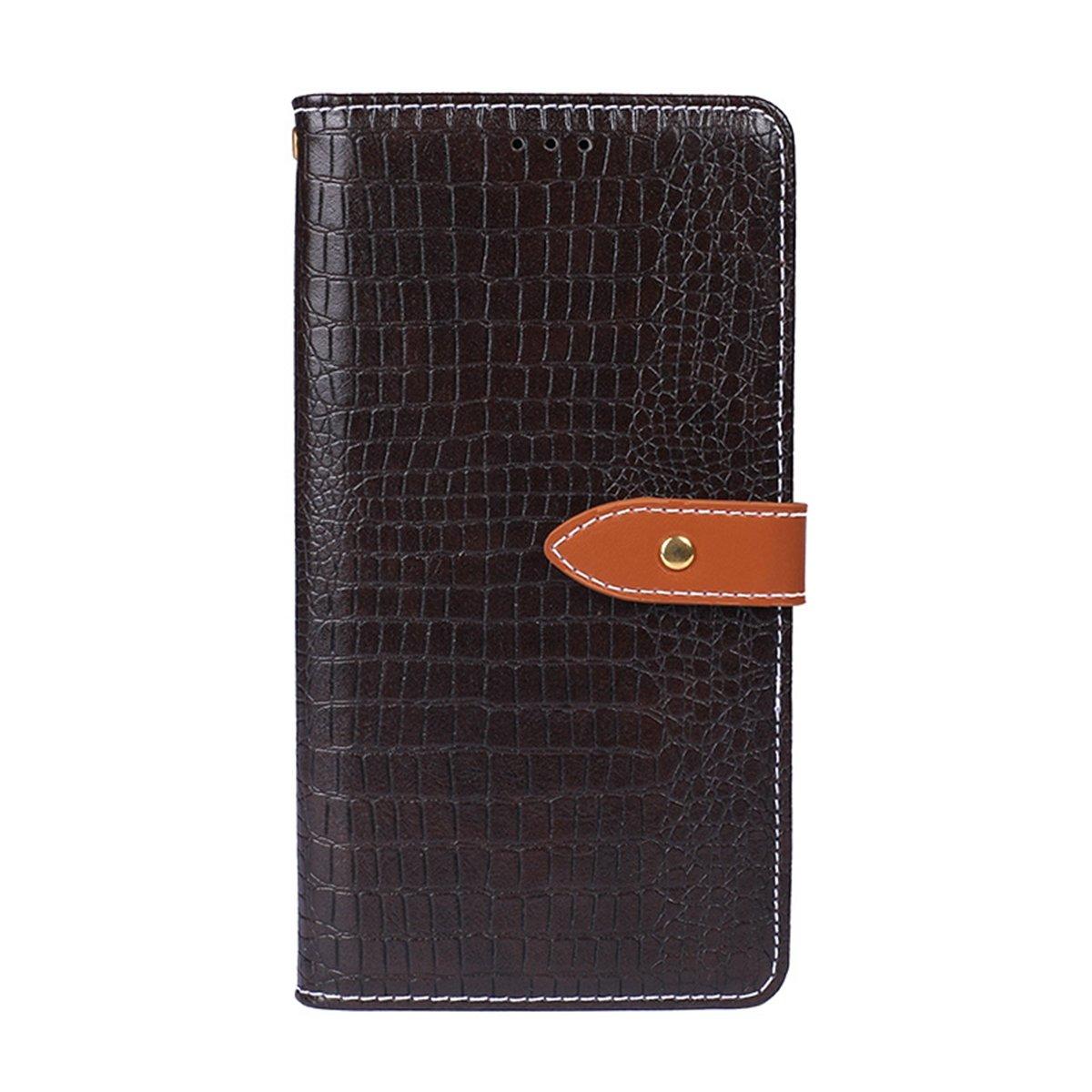 Obamono Etui Xiaomi Redmi Note 7, Etui Portefeuille en Cuir PU à Motif crocodé Etui à Rabat magnétique Etui de Protection Durable avec Fentes pour Cartes, Marron foncé