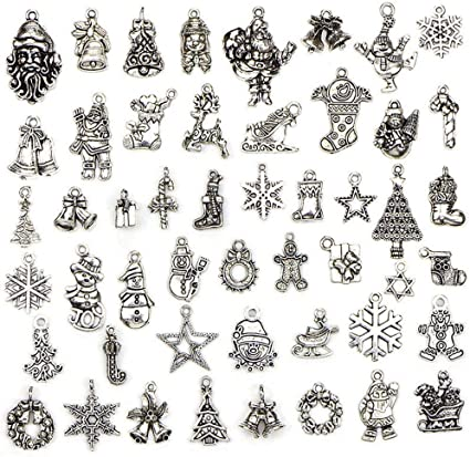 JIALEEY Wholesale Bulk Lots Jewelry Making Silver Charms Mixed Smooth Tibetan...