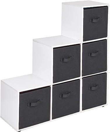 URBNLIVING Estantería de 6 cubos en forma de escalera con 6 cajones, Black Drawers, White 6 Cubes: Amazon.es: Hogar