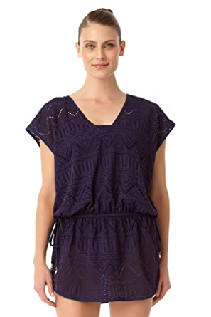 17bfe3d6d6 Anne Cole Women's Crochet All Day Tunnel Tie V Neck Tunic Swim Cover Up-XS/S-Navy  at Amazon Women's Clothing store: