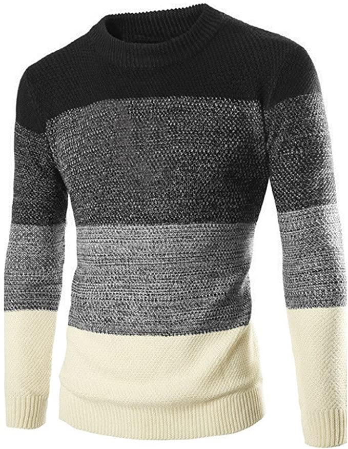 Mens Casual Long Sleeve Jumper Knit O Neck Sweater Shirt Tops Pullover Stripe UK