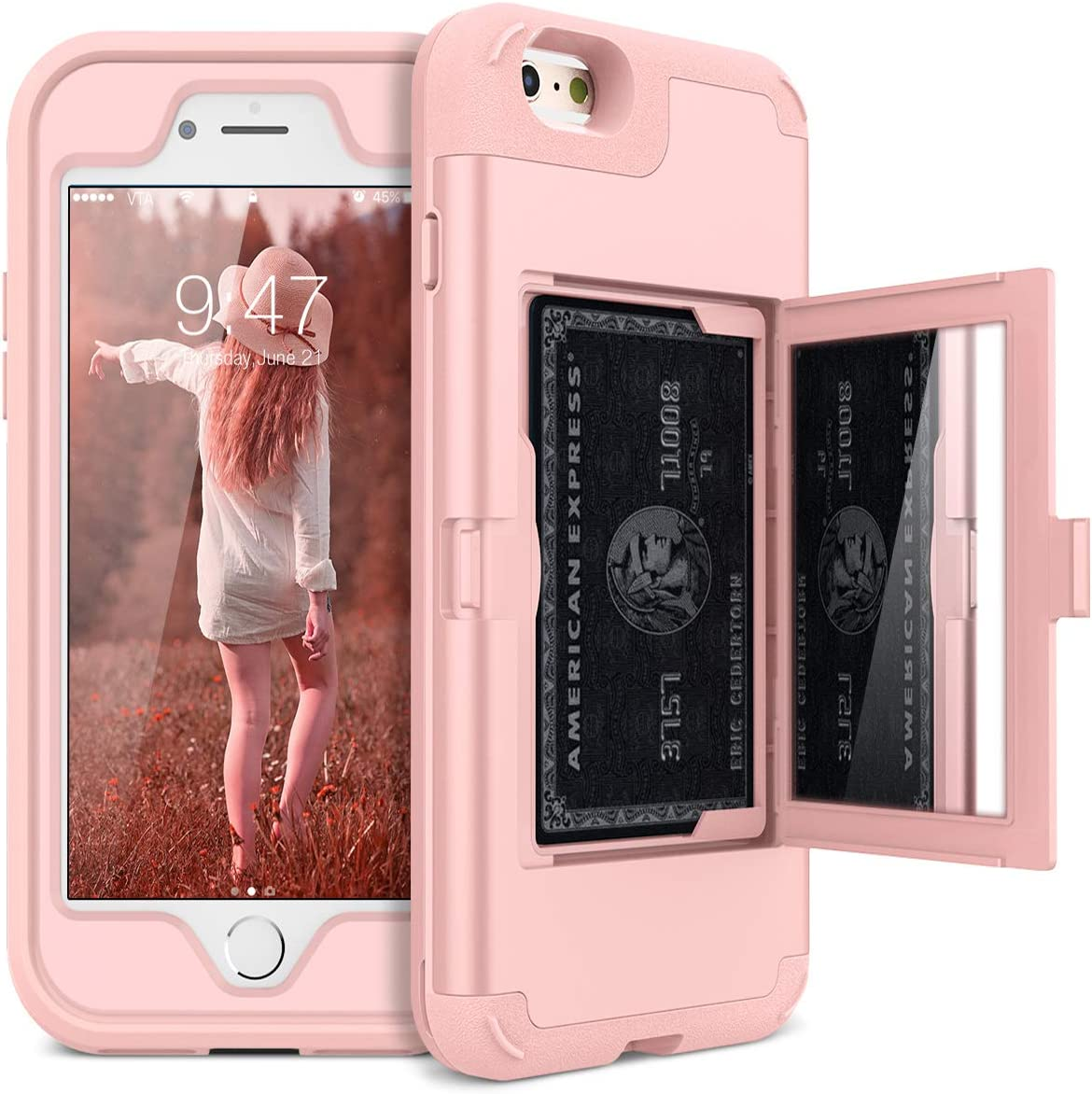 WeLoveCase iPhone 6 Plus / 6s Plus Wallet Case Defender Wallet Case with Hidden Back Mirror and Card Holder Heavy Duty Protection Shockproof Armor Protective Case for iPhone 6S Plus - Rose Gold