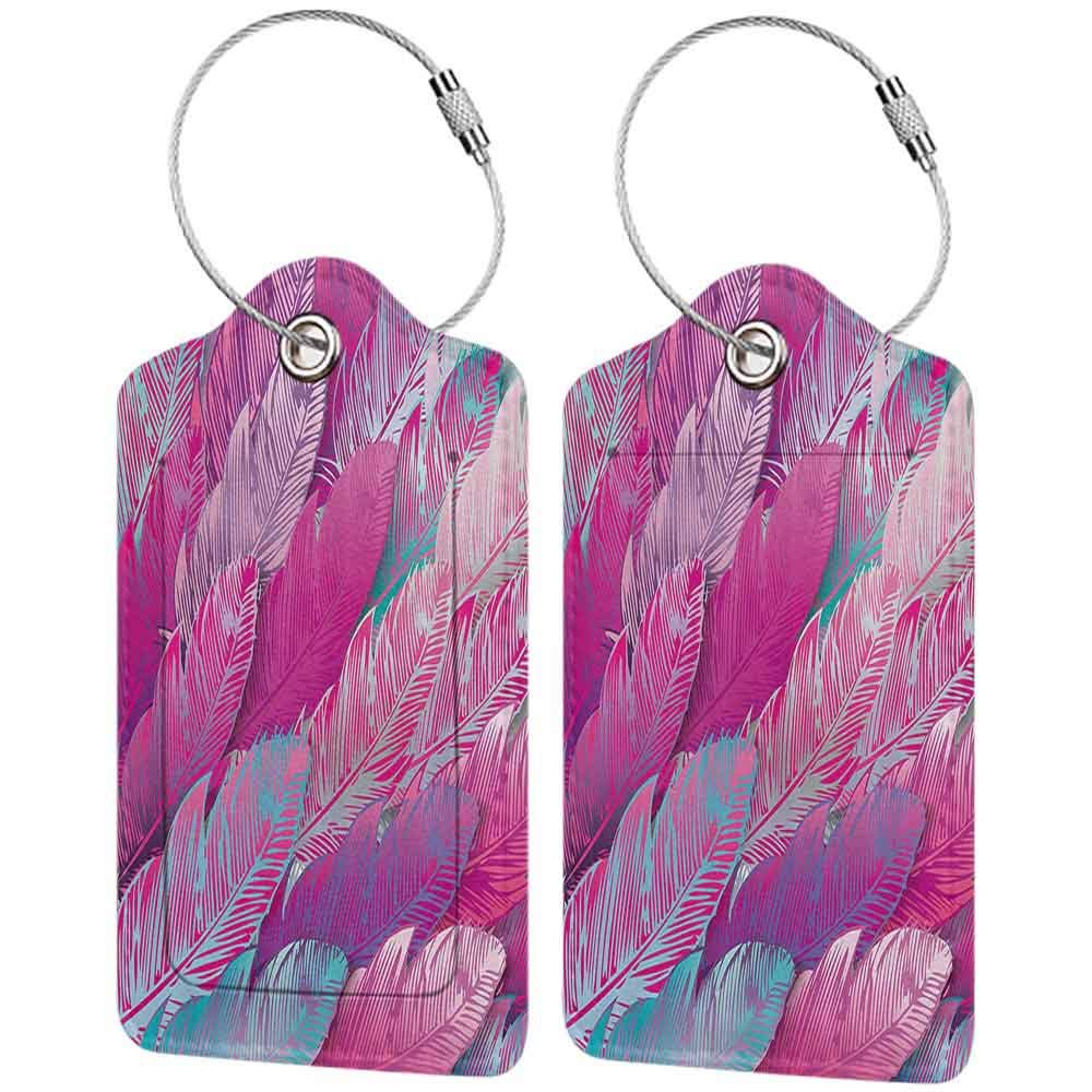 Printed luggage tag Abstract Vibrant Feathers Boho Pattern Repeating Vivid Tones Hippie Sixties Print Protect personal privacy Magenta Sea Green W2.7 x L4.6