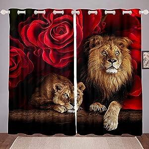 Erosebridal Lion Curtains, Africa Wildlife WindowCurtainPanels for Kids Teens Adult Bedroom, Red Rose Flower Pattern WindowDrapes, Animal Theme WindowTreatmentSet, Black Brown 38