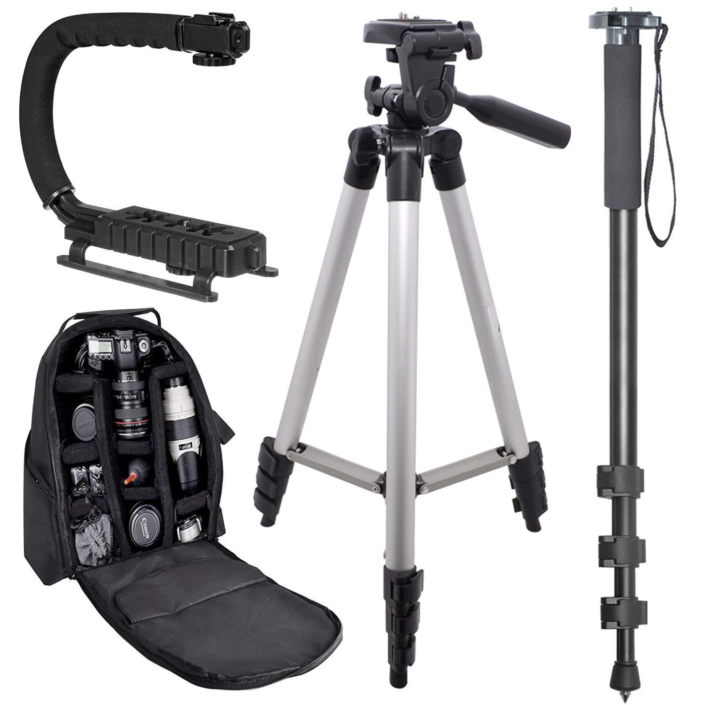 Camedia E-20 50 Tripod Vertical Grip EVOLT E-330: Pro Backpack E-5 Camedia E-10 E-30 E-3 Pro Travelers Bundle Olympus E-1 E-100 RS 72 Monopod EVOLT E-300