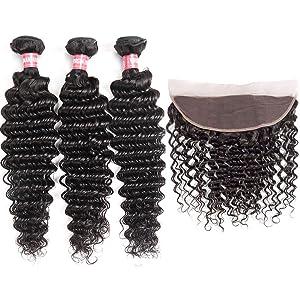 WENYU Brazilian Virgin Deep Wave Human Hair 3 Bundles with Frontal Lace Closure 13x 4 Ear to Ear Lace Frontal with Bundles Deep Curly Weave (Deep 10 12 14+10 Frontal, Deep Wave Bundles with Frontal)