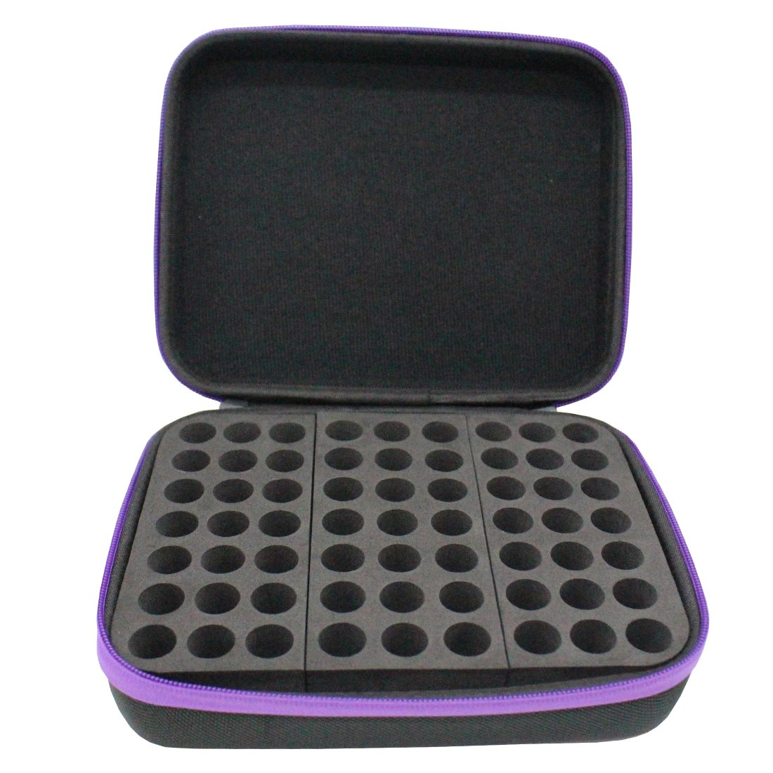 TePiLl Essential Oil Carrying Case 63 Bottles Travel Carrier Holder Portable Hanging EVA 1ml-3ml for Young Living & Doterra Container(Purple)