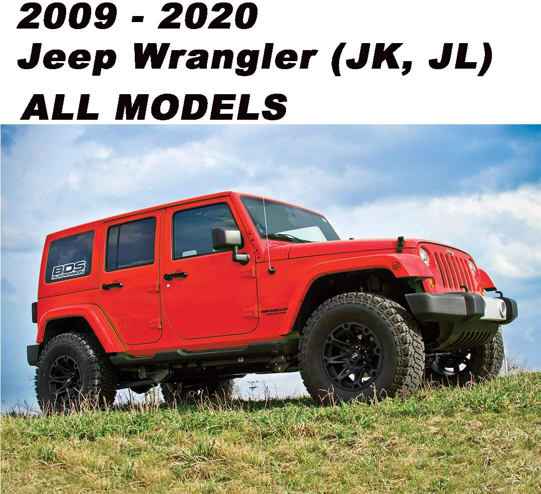 Fo-rd F150 Trucks JK, JL JT Black 3.6 Aluminum Short Direct Replacement Screw Thread Antenna Mast for 2009-2015 2016 2017 2018 2019 2020 Je-ep Wrangler Je-ep Gladiator Fo-rd F-150 Raptor