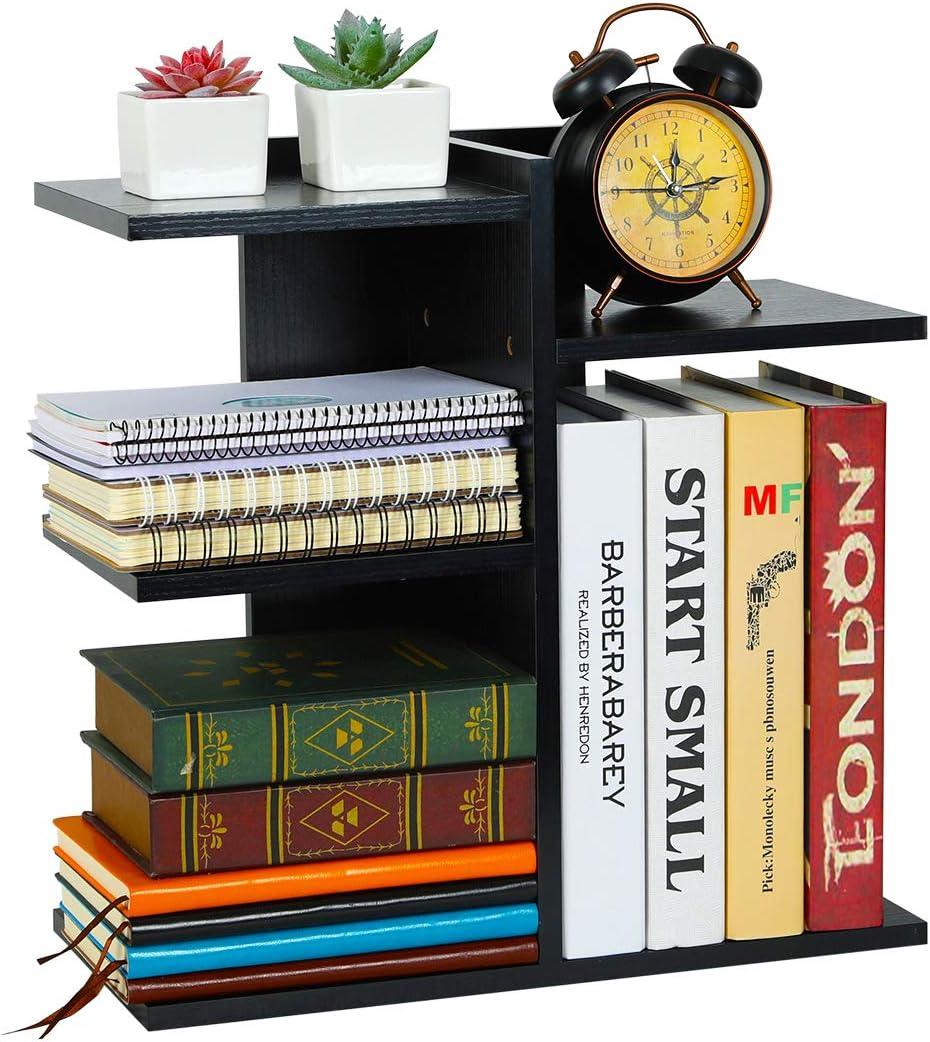 PAG Wood Desktop Bookshelf Assembled Countertop Bookcase Literature Holder Accessories Display Rack Office Supplies Desk Organizer, Black