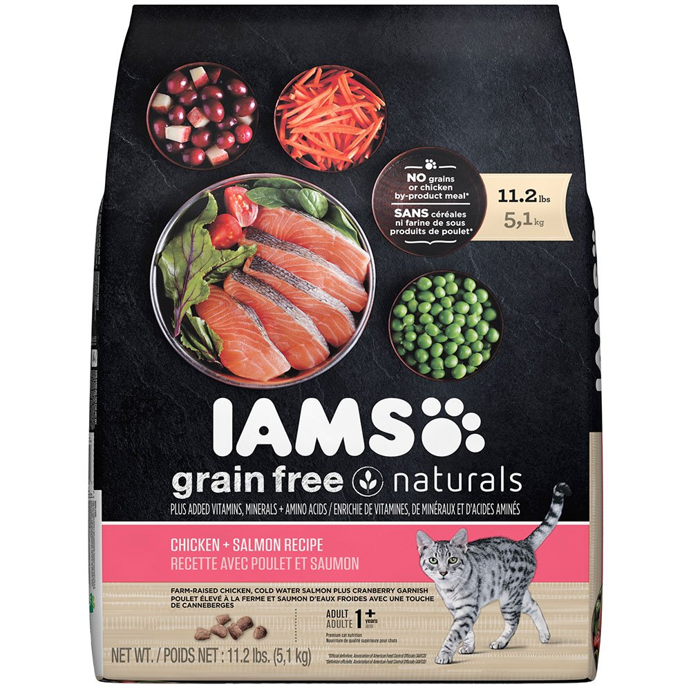 Amazon.com : IAMS Grain Free Naturals Chicken and Salmon Recipe Dry Cat  Food 11.2 Pounds : Pet Supplies